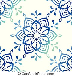 Beautiful blue mandala stock vector illustration pattern on white background
