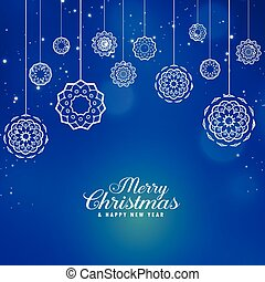 beautiful blue merry christmas background with creative xmas balls