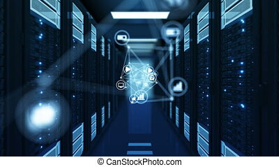 Beautiful Blue Network Icons Flowing in Futuristic Datacenter Room Server Racks Rows. Looped 3d Animation. Digital Media Futuristic Technology Concept. 4k Ultra HD 3840x2160.