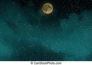 Beautiful blue night starry sky with full moon and clouds