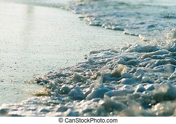 Beautiful Blue Ocean Wave and foam