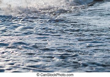 Beautiful Blue Ocean Wave and foam texture