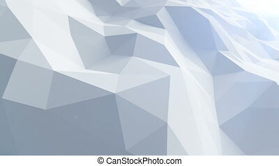 Beautiful Blue Polygonal Surface Waving in Looped 3d Animation. Seamless Geometrical Background in 4k, 3840x2160, Ultra HD.