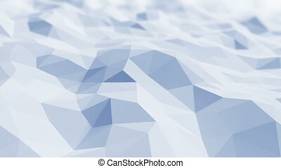 Beautiful Blue Polygonal Surface Waving in Looped 3d Animation. Seamless Geometrical Background