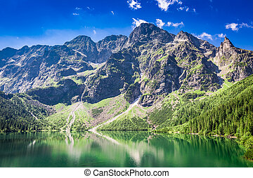 Beautiful blue pond in the mountains at sunrise, Poland, Europe