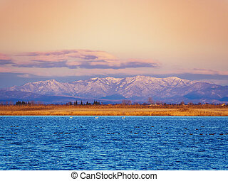 Beautiful blue salt lake with swans and black ducks in it and awesome mountains far away on the horizon