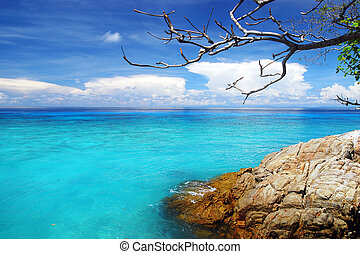 Beautiful blue sea ,blue sky from tachai island in Thailand
