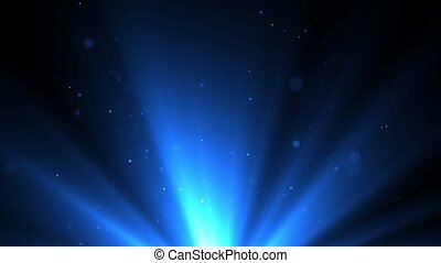 Beautiful blue shimmering particles with lens flare on Loop black background