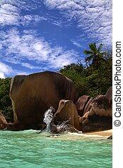 Beautiful blue sky and clear ocean water shoreline
