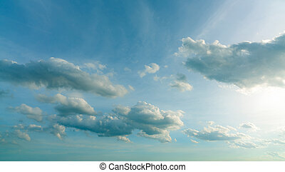 Beautiful blue sky and white cumulus clouds abstract background. Cloudscape background. Sky and clouds on sunny day. Nice weather. Bright sky for happy day. Beauty in nature. Heaven sky.