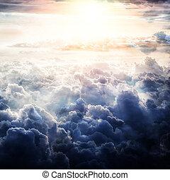Beautiful blue sky clouds background