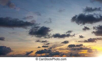 Beautiful blue sky on sunset time