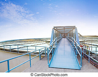 beautiful blue sky of environment waterworks plant in heavy...