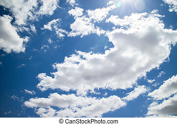 Beautiful blue sky with a sea of ??clouds