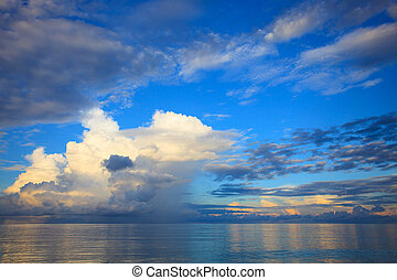 beautiful blue sky with cloud scape over blue ocean use as natur