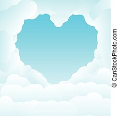 Beautiful blue sky with some romantic heart shaped clouds