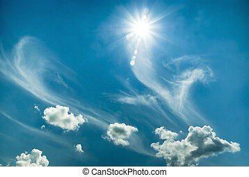 Beautiful blue sky with sun