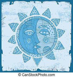 blue sun with moon