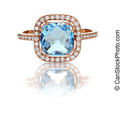 Beautiful Blue Topaz and diamond Rose Gold Halo Ring Cushion Cut with a square princess style setting