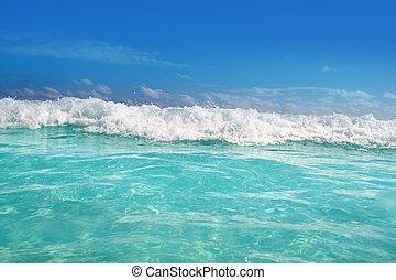 blue turquoise wave caribbean sea water foam
