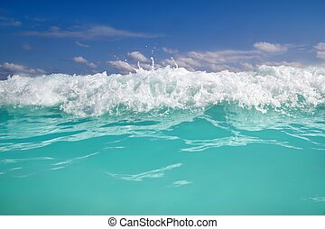 blue turquoise wave caribbean sea water foam
