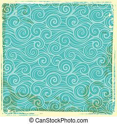 Vintage wave background - Beautiful blue Vintage wave...