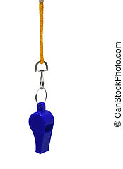 blue whistle - Beautiful blue whistle on a yellow cord