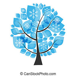 Beautiful Blue Winter Tree with Snowflakes on a White Background