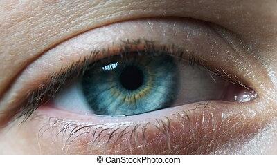 Beautiful Blue Woman Eye, Extreme Close-up. Sight. Detail ...