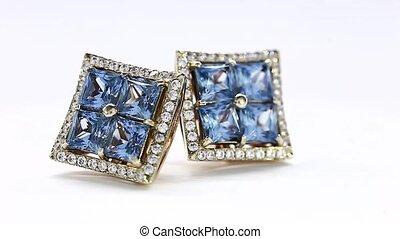 Beautiful Blue Zirconium, Turntable White Gold Earring.