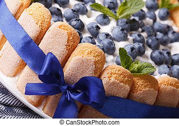 Beautiful blueberry cake with Savoiardi macro. horizontal -...