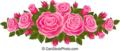 Beautiful border of roses - Vector illustration with a...