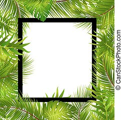 Beautiful Border with Tropical Palm Leaves