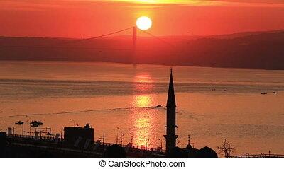 Beautiful Bosphorus at dawn, Turkey - Scenic sunrise view at...