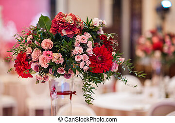 Beautiful bouquet flower in vase on the table