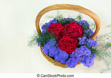 Beautiful bouquet of 3 large red rose surrounded