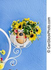 beautiful bouquet of bright wildflowers in flowerpot