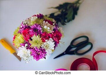 Beautiful bouquet of colorful gerbera daisies