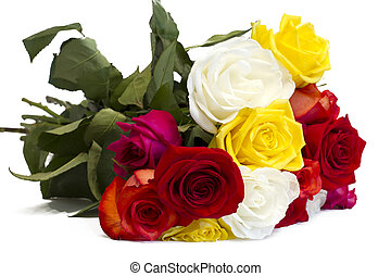 Beautiful bouquet of colorful roses on a white background.