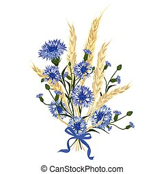Beautiful bouquet of cornflowers and wheat spikelets, tied ...