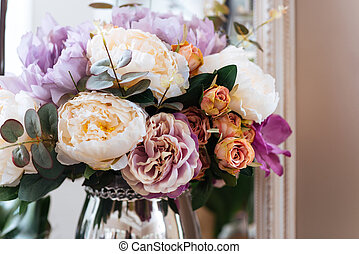 Beautiful bouquet of flowers in vase