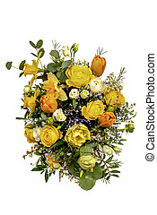 Beautiful bouquet of flowers on a white background, view from above