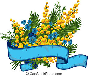 Beautiful bouquet of mimosa and forget-me-not, vector illustration