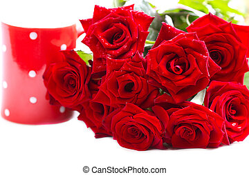 beautiful bouquet of red roses.