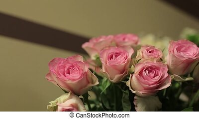 Beautiful bouquet of roses and alstromeries