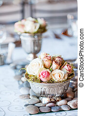 Beautiful bouquet of roses at wedding reception - Beautiful...