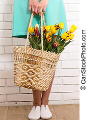 tulips in a basket