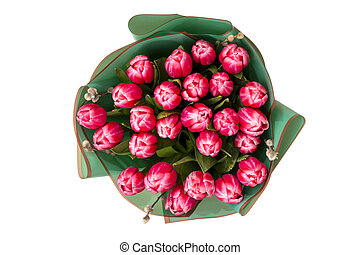 Beautiful bouquet of tulips on a white background, view from above