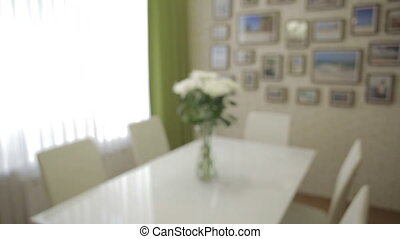 Beautiful bouquet of white chrysanthemums in home interior....
