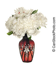 Beautiful bouquet of white peonies in a glass vase Isolated on a white background.